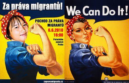 Идея плаката, призывавшего остоять права трудовых мигрантов в Чехии, была позаимствована из-за океана